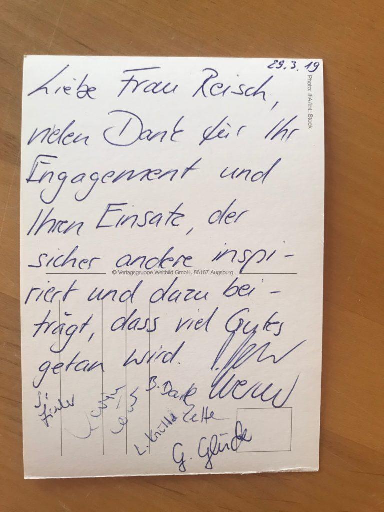 Dankeskarte der Grundschule Aufkirchen